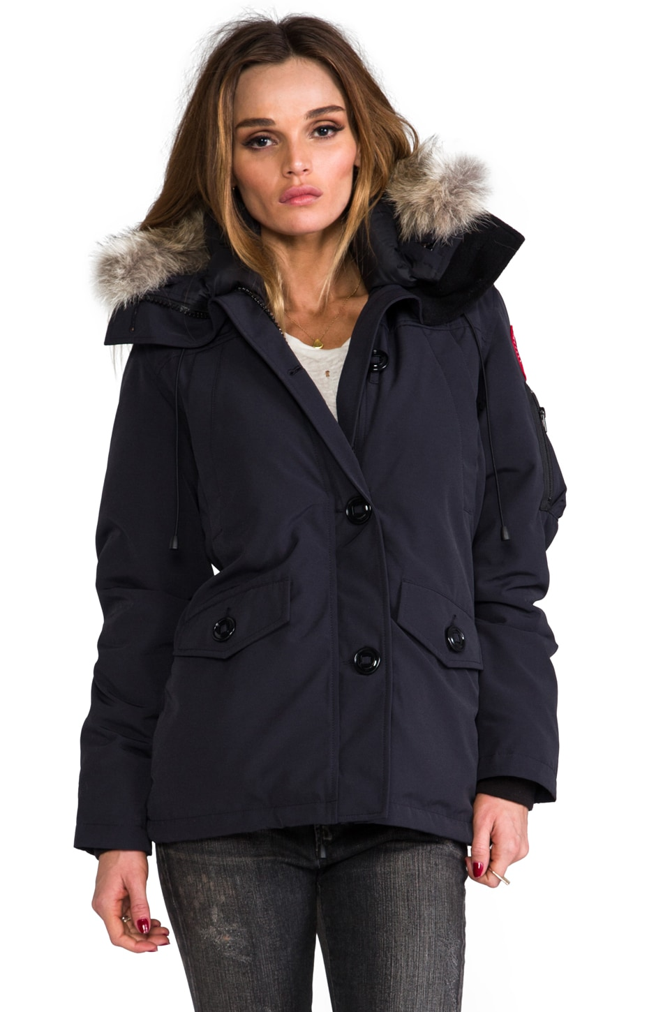Canada Goose Montebello Parka with Coyote Fur trim in Navy