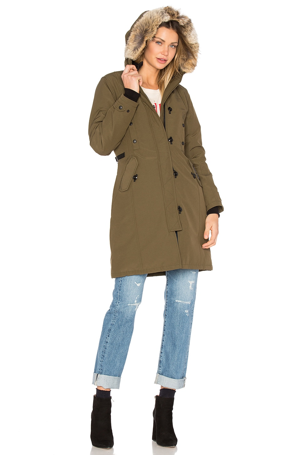 Canada Goose womens replica fake - Canada Goose Kensington Parka with Coyote Fur Trim in Military ...