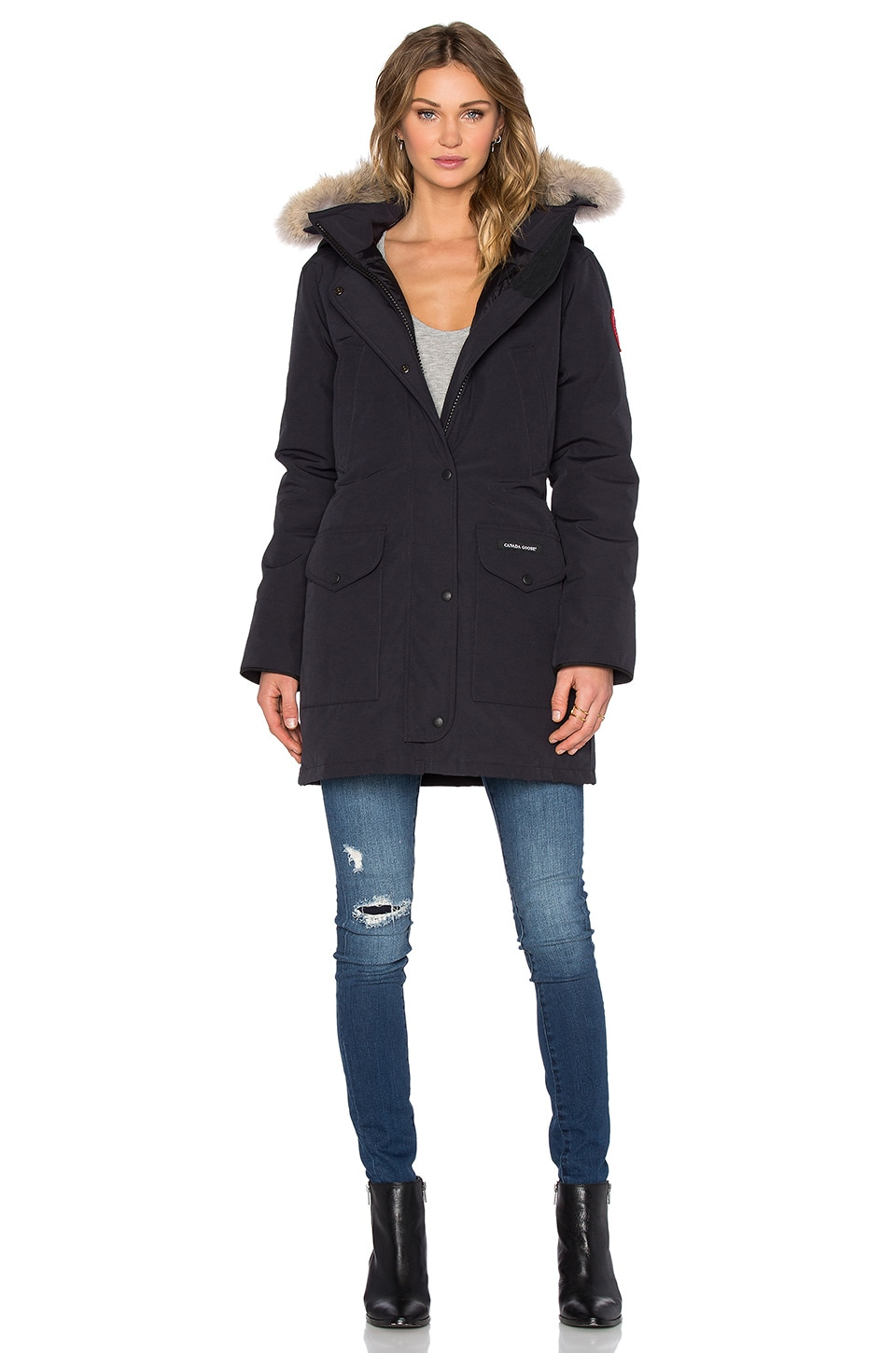 Canada Goose Trillium Parka with Coyote Fur trim in Navy