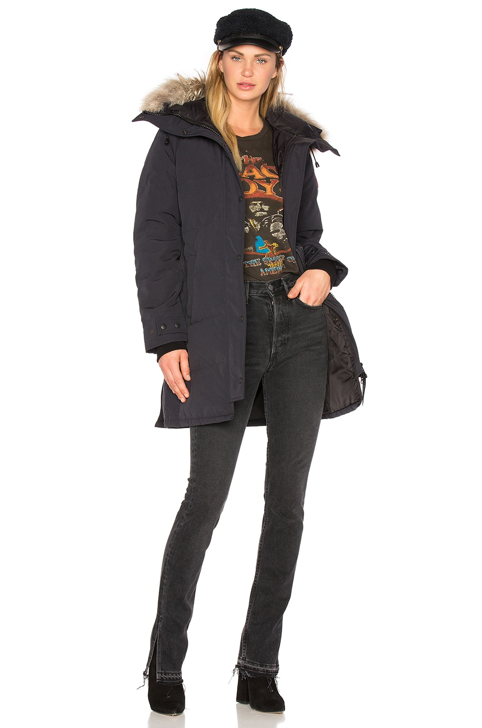Canada Goose Shelburne Parka with Coyote Fur in Navy