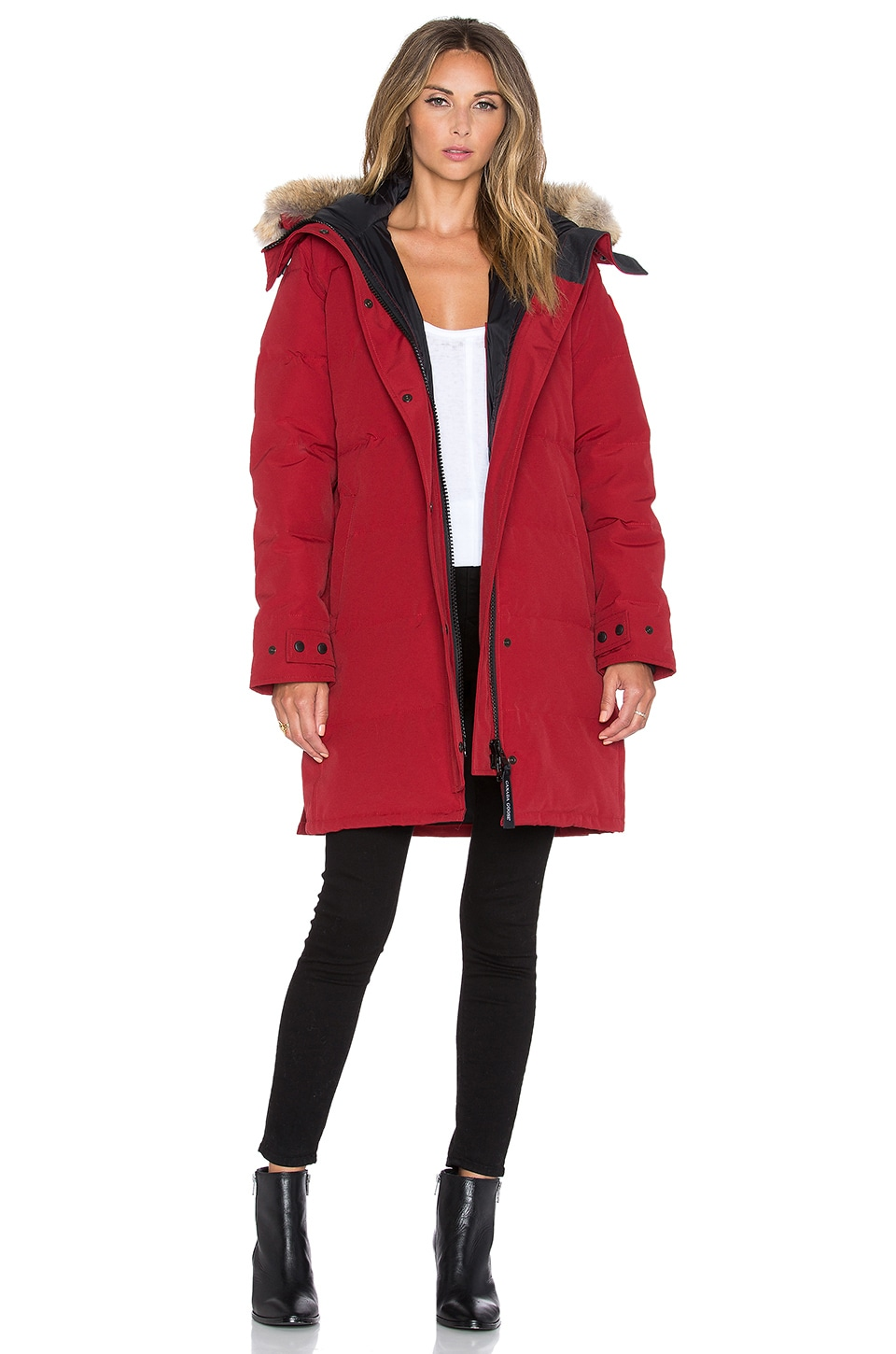 f45d90605268 Canada Goose Shelburne Parka with Coyote Fur in Redwood | REVOLVE