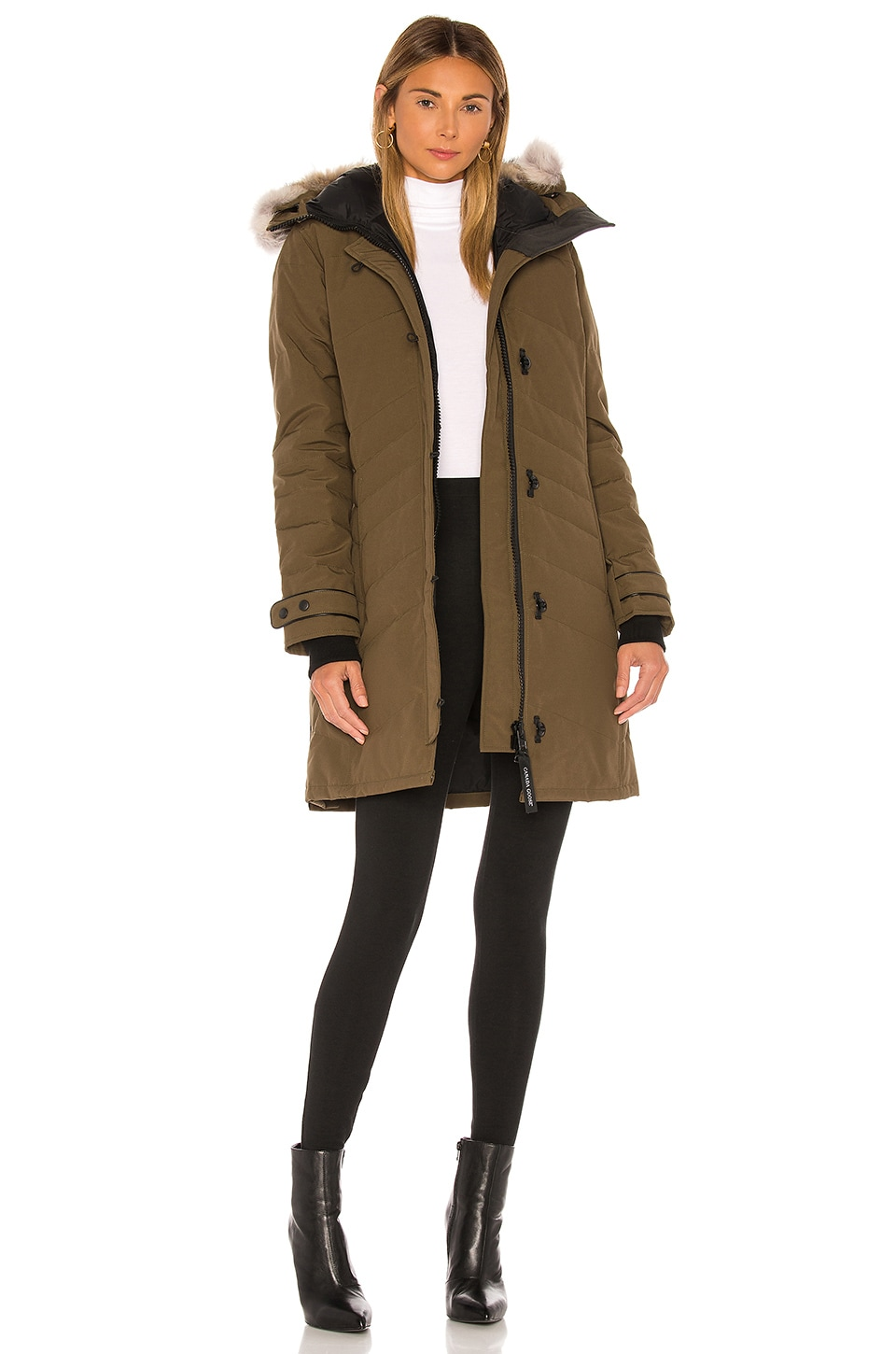 Canada Goose Lorette Parka with Removable Fur Ruff in Military Green