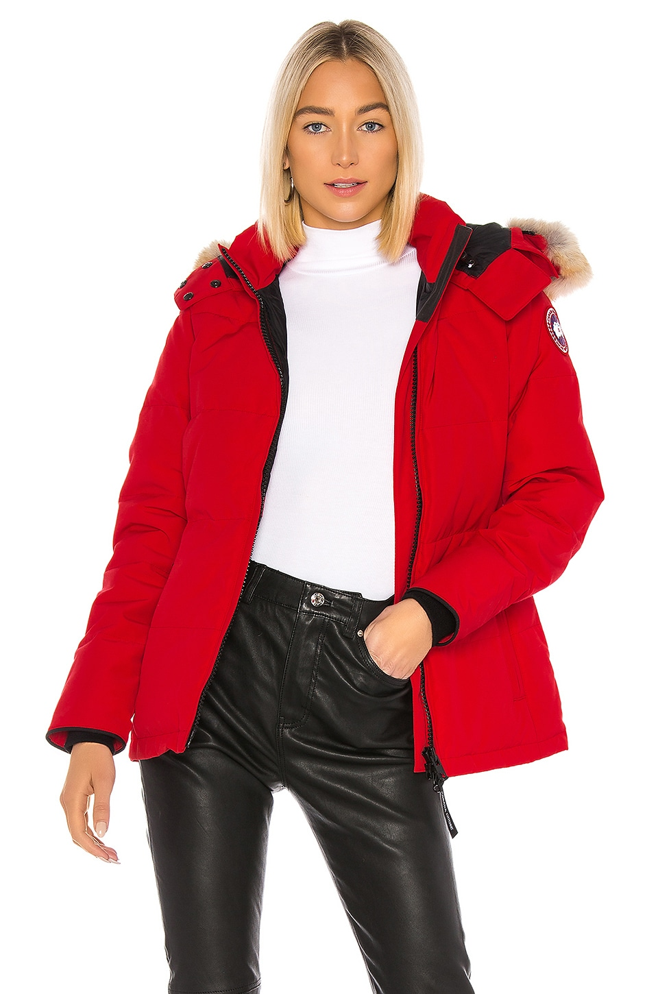 Canada Goose Chelsea Parka with Removable Fur Ruff in Red
