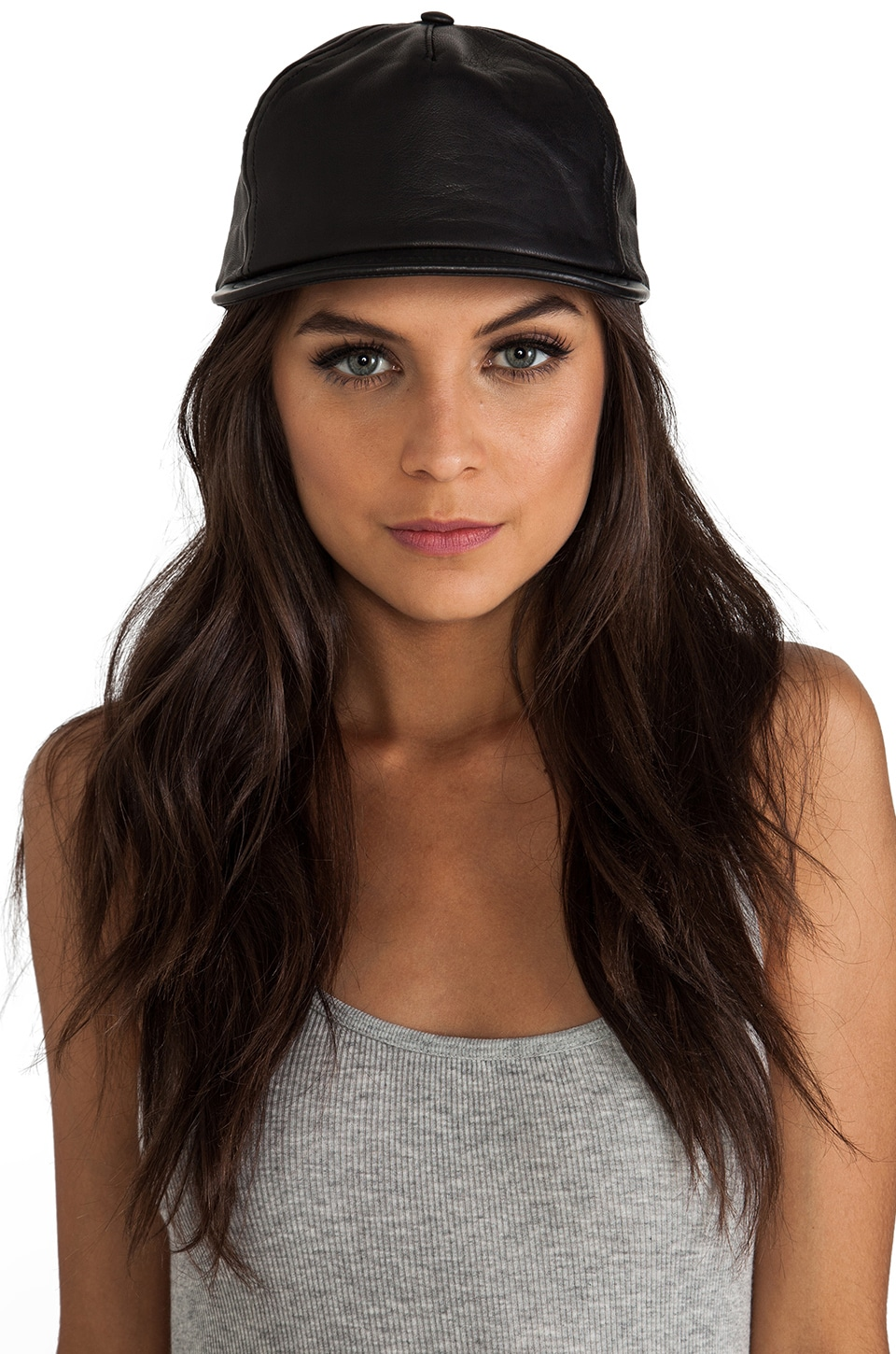 Cast of Vices Leather Baseball Cap in Black