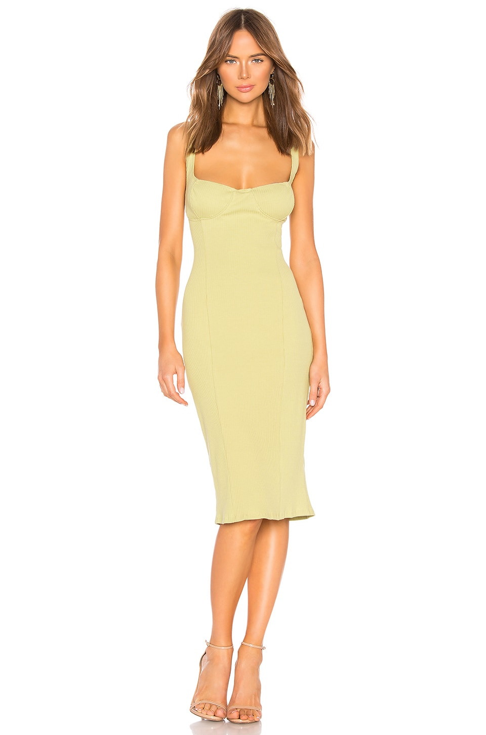 Capulet Lola Bustier Bodycon Dress in Pale Lime