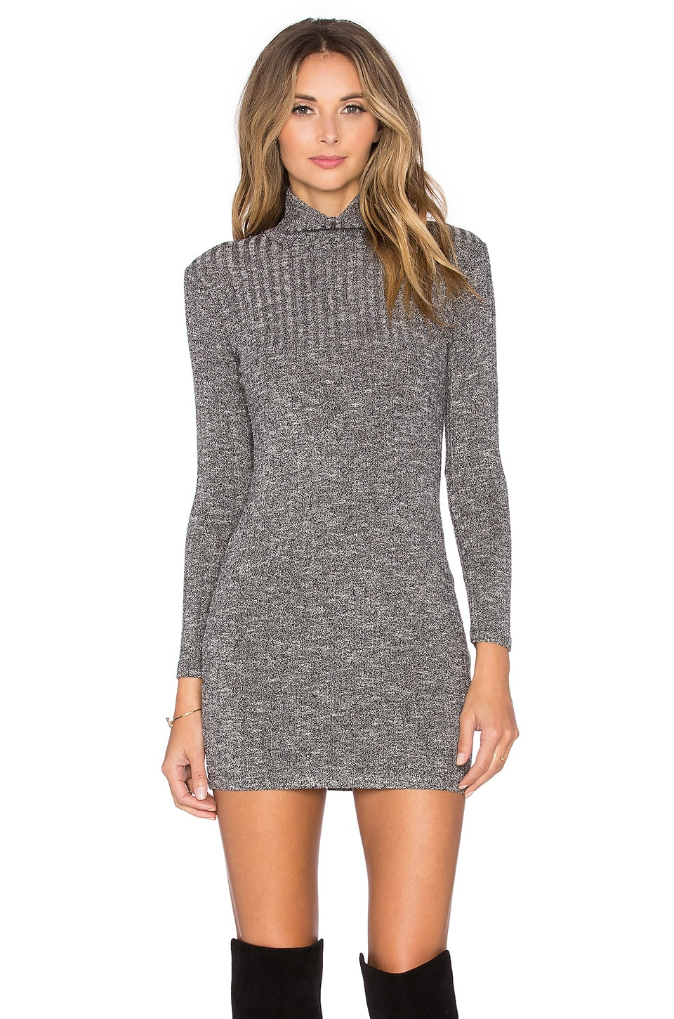 Capulet Long Sleeve Turtleneck Sweater Dress in Black Rib | REVOLVE