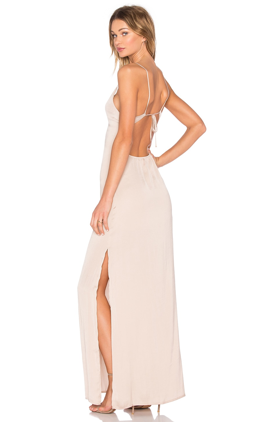 Deep V Maxi Dress in Beige Capulet Cheap Low Shipping Fee Outlet Pre Order NQfwoRLHC