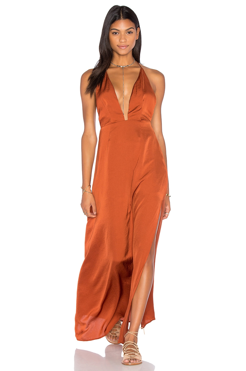 Capulet Pia Halter Maxi Dress in Rust