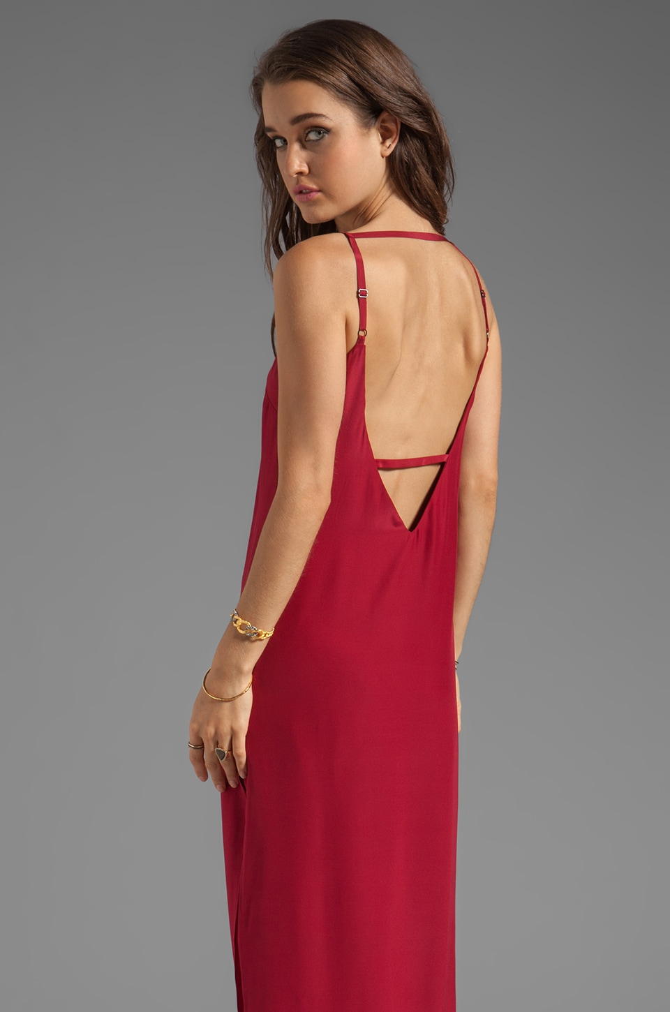 Capulet Plunging Back Maxi Dress in Red Silk