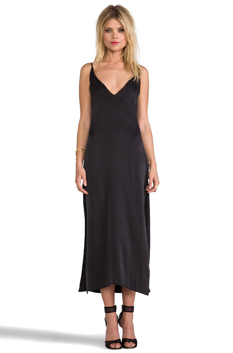 Capulet Deep V Front Dress in Washed Black