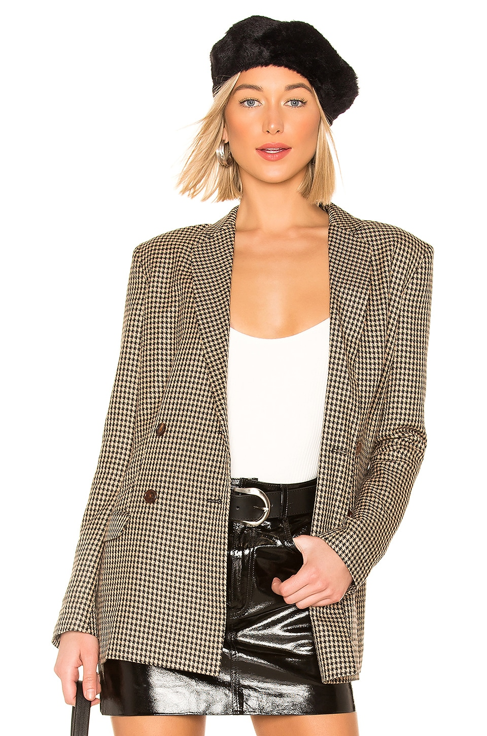 CAPULET Dylan Double Breasted Blazer in Brown