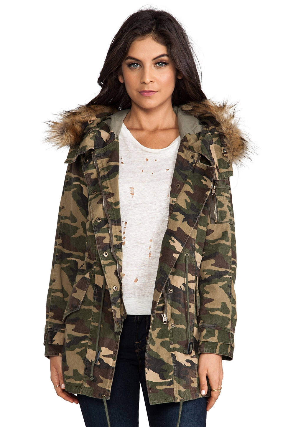 Capulet Military Parka with Faux Fur Trim in Camouflage