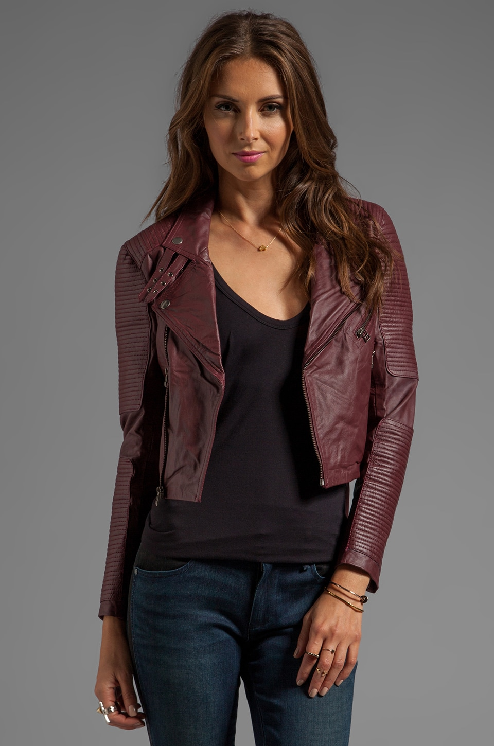Capulet Cropped Leather Moto Jacket in Oxblood