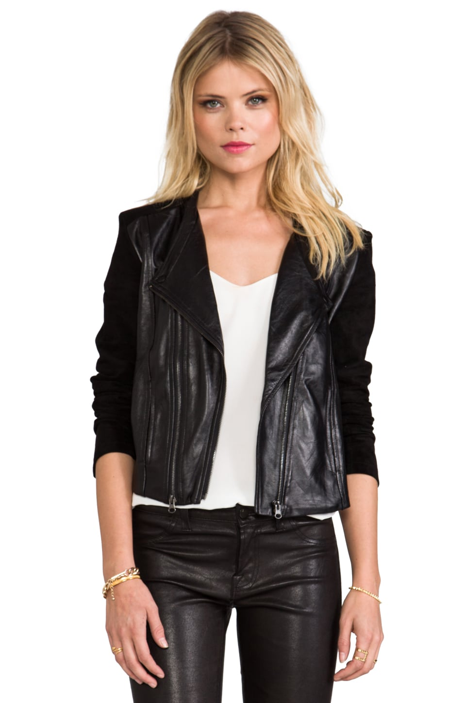 Capulet Collarless Moto Jacket in Black