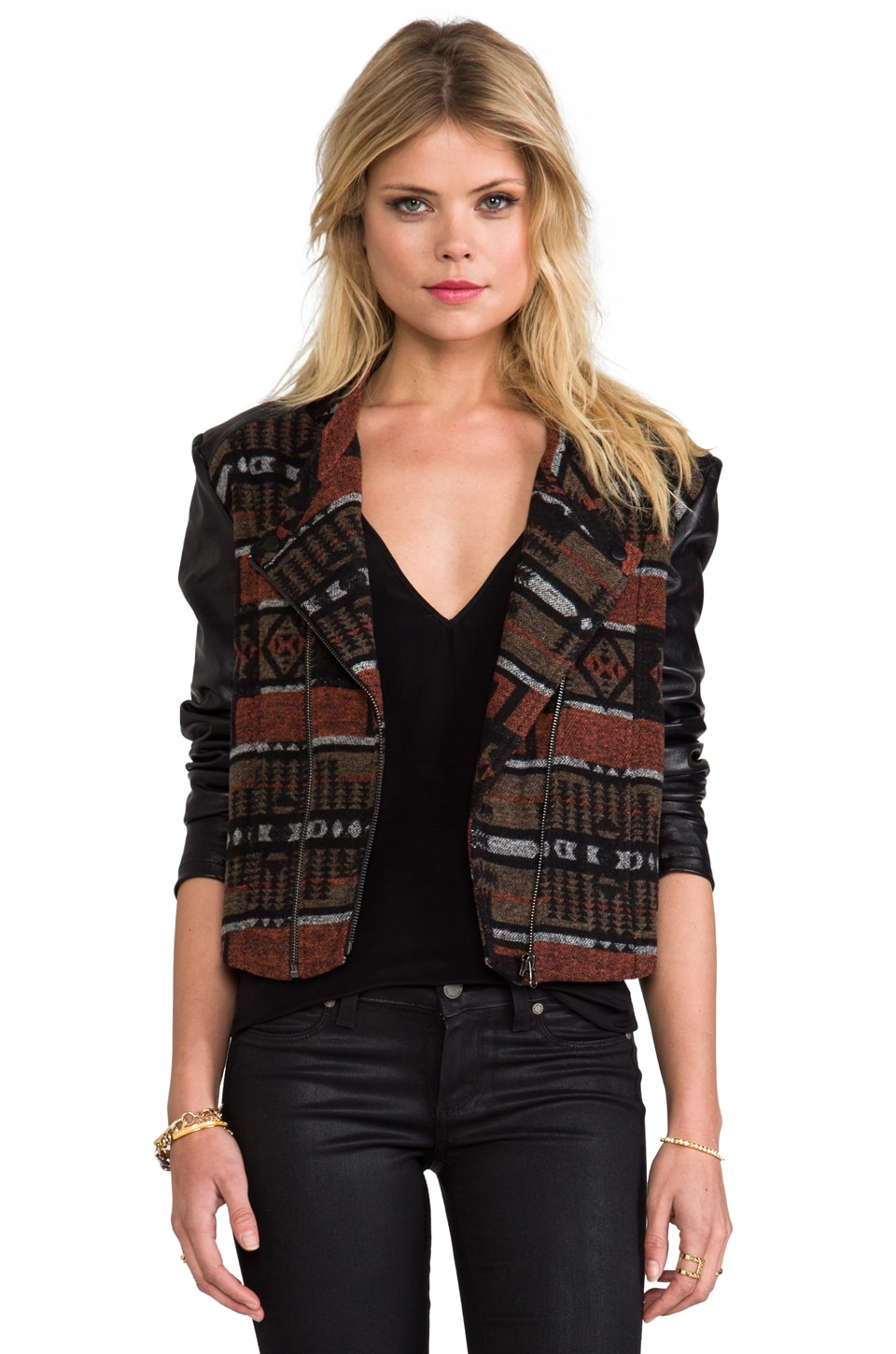 Capulet Collarless Moto Jacket in Tribal Jacquard