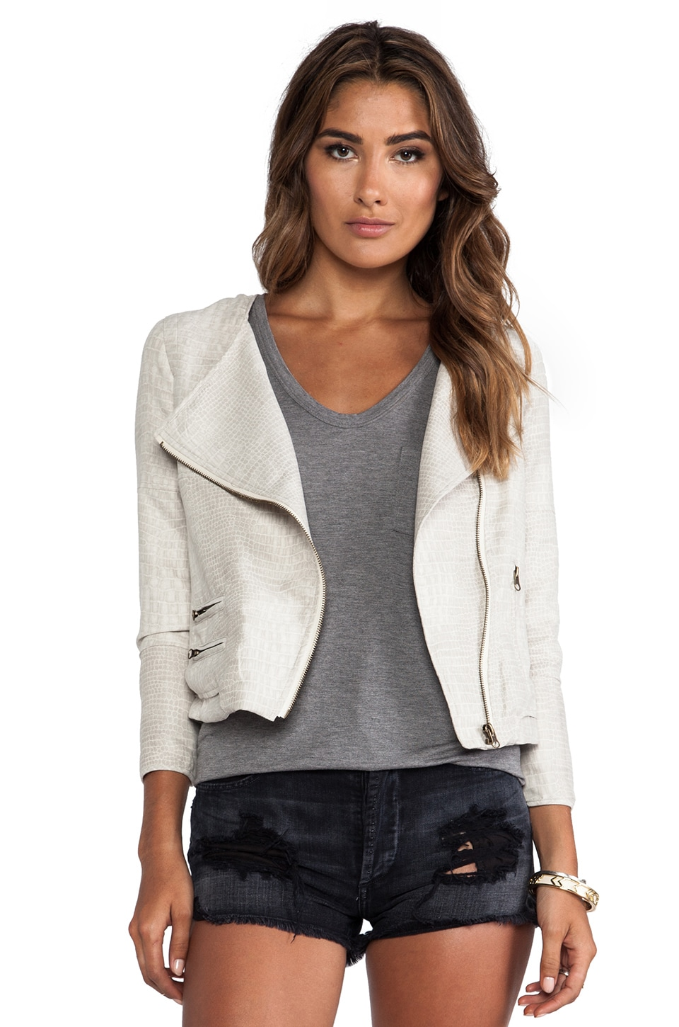 Capulet Collarless Moto Jacket in Cream Jacquard