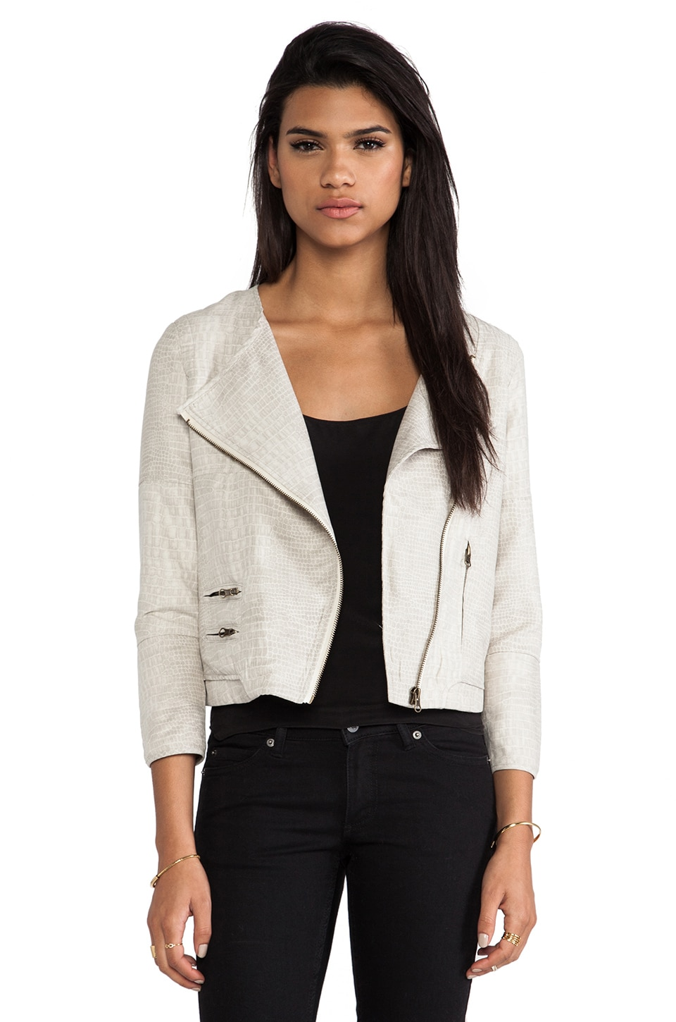Capulet Collarless Moto Jacket in Light Croc Print