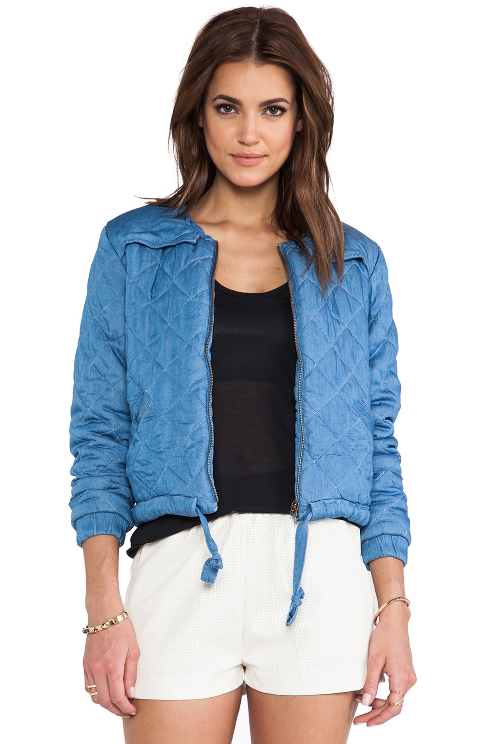 Capulet Quilted Bomber Jacket in Light Blue