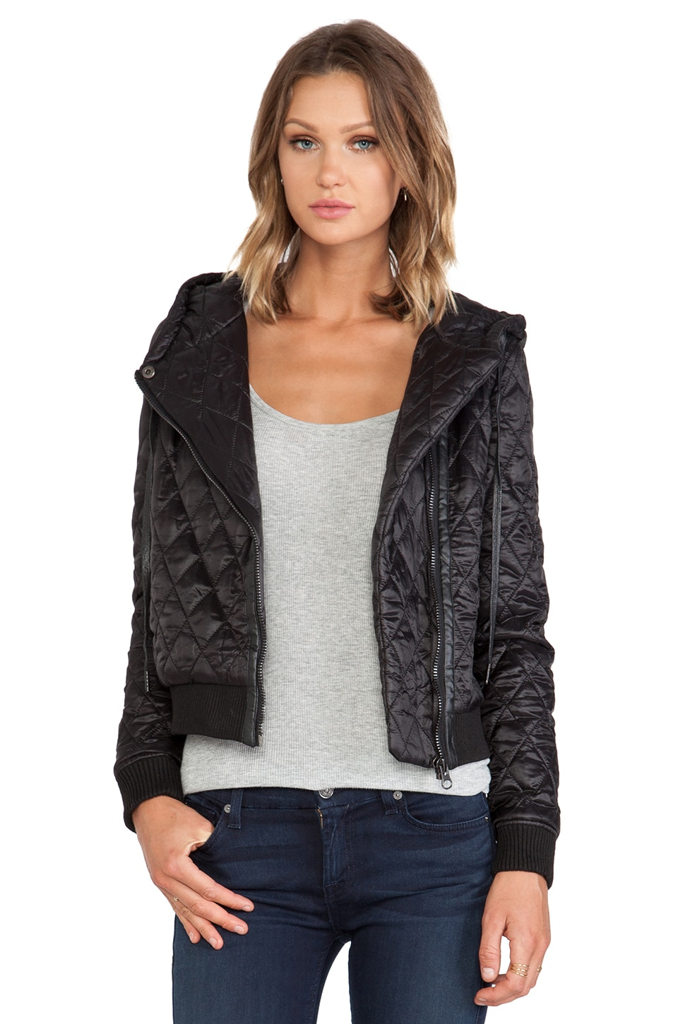 Capulet Quilted Hood Jacket in Black