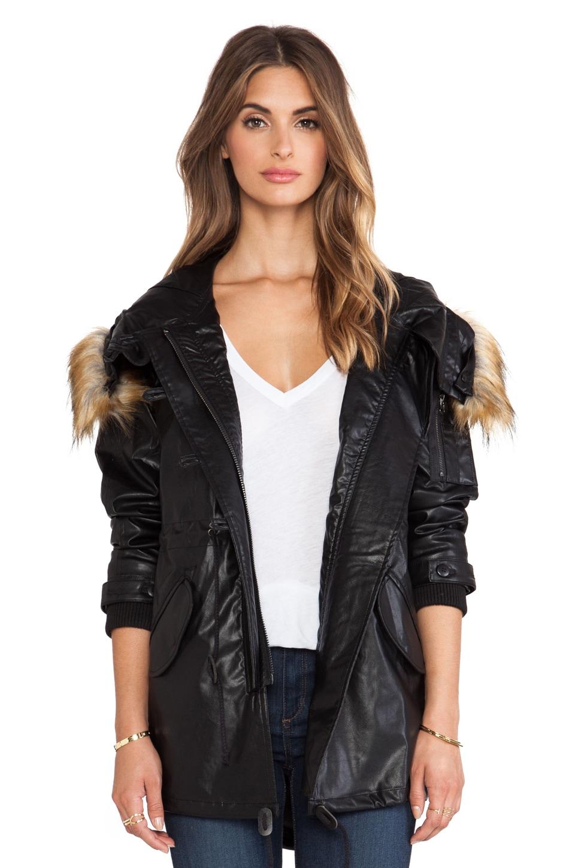 Capulet Vegan Leather Hooded Parka with Faux Fur Trim in Black
