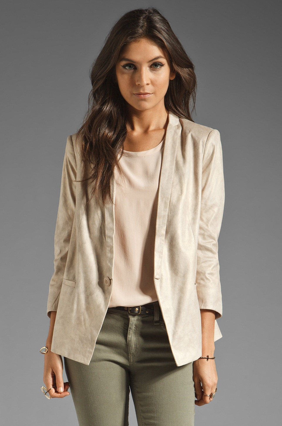 Capulet Notch Collar Faux Leather Blazer in Creme