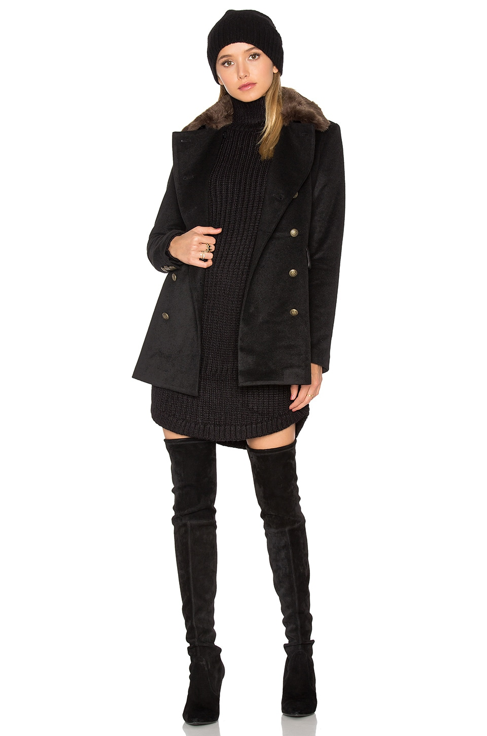 Capulet Emmy Double Breasted Coat with Faux Fur Collar in Black