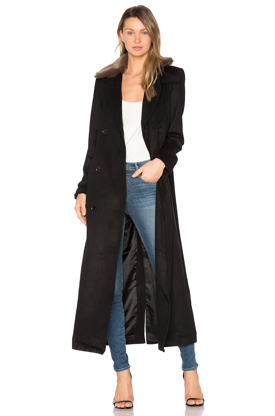 Capulet Vinnie Duster Overcoat with Faux Fur Trim in Black