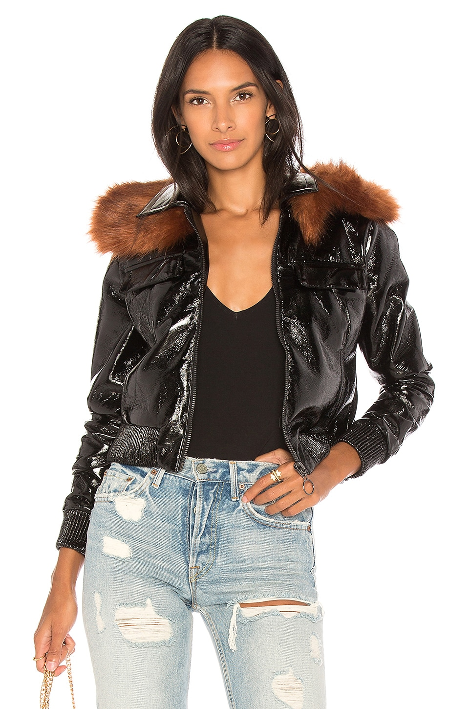 Capulet Flight Patent Leather Jacket in Black & Rust Vegan Fur