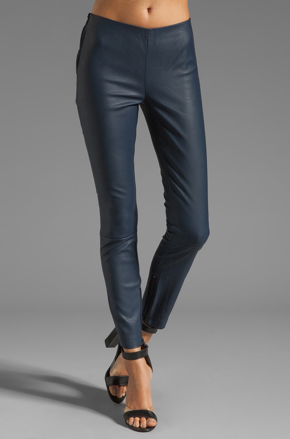 Capulet Faux Stretch Leather Pant in Navy