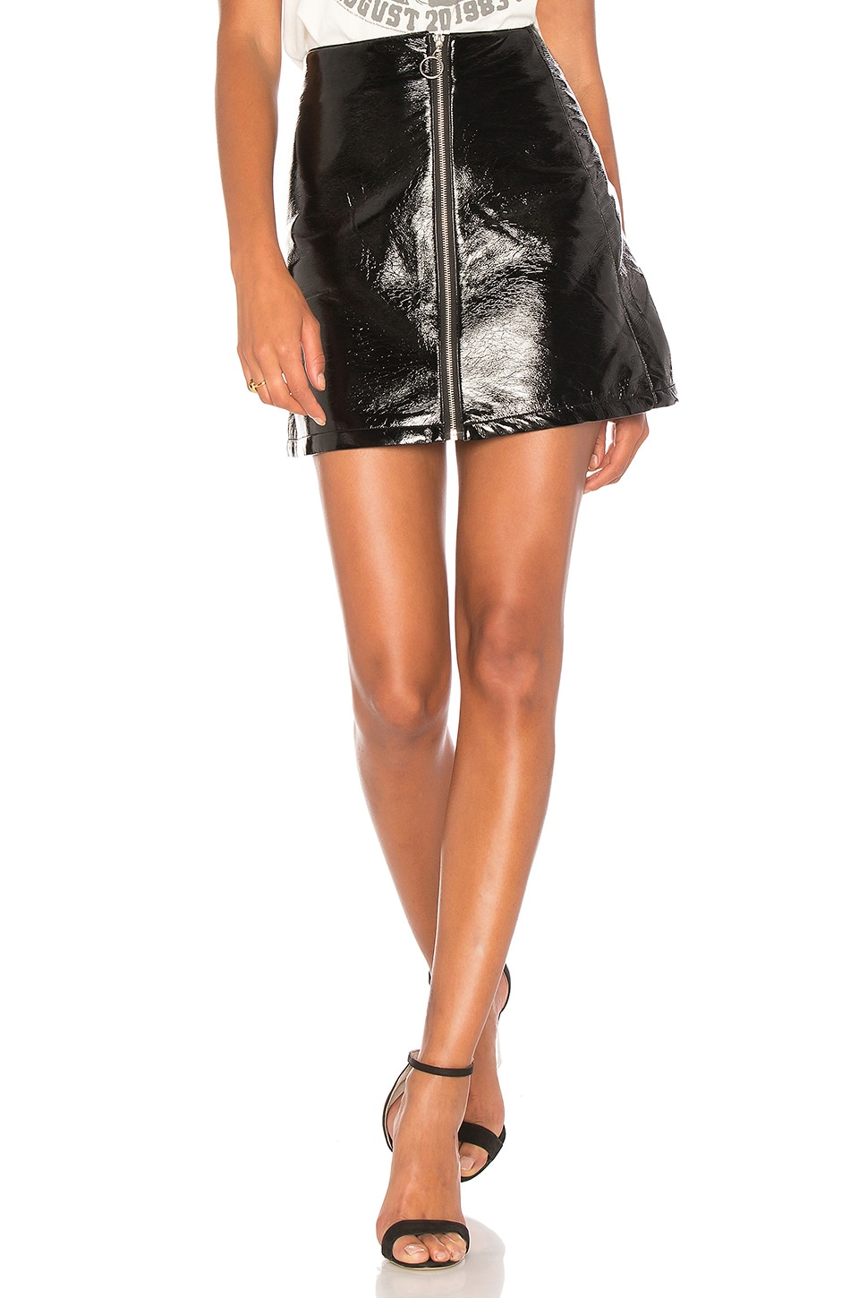 Capulet Sophie Patent Leather Skirt in Black