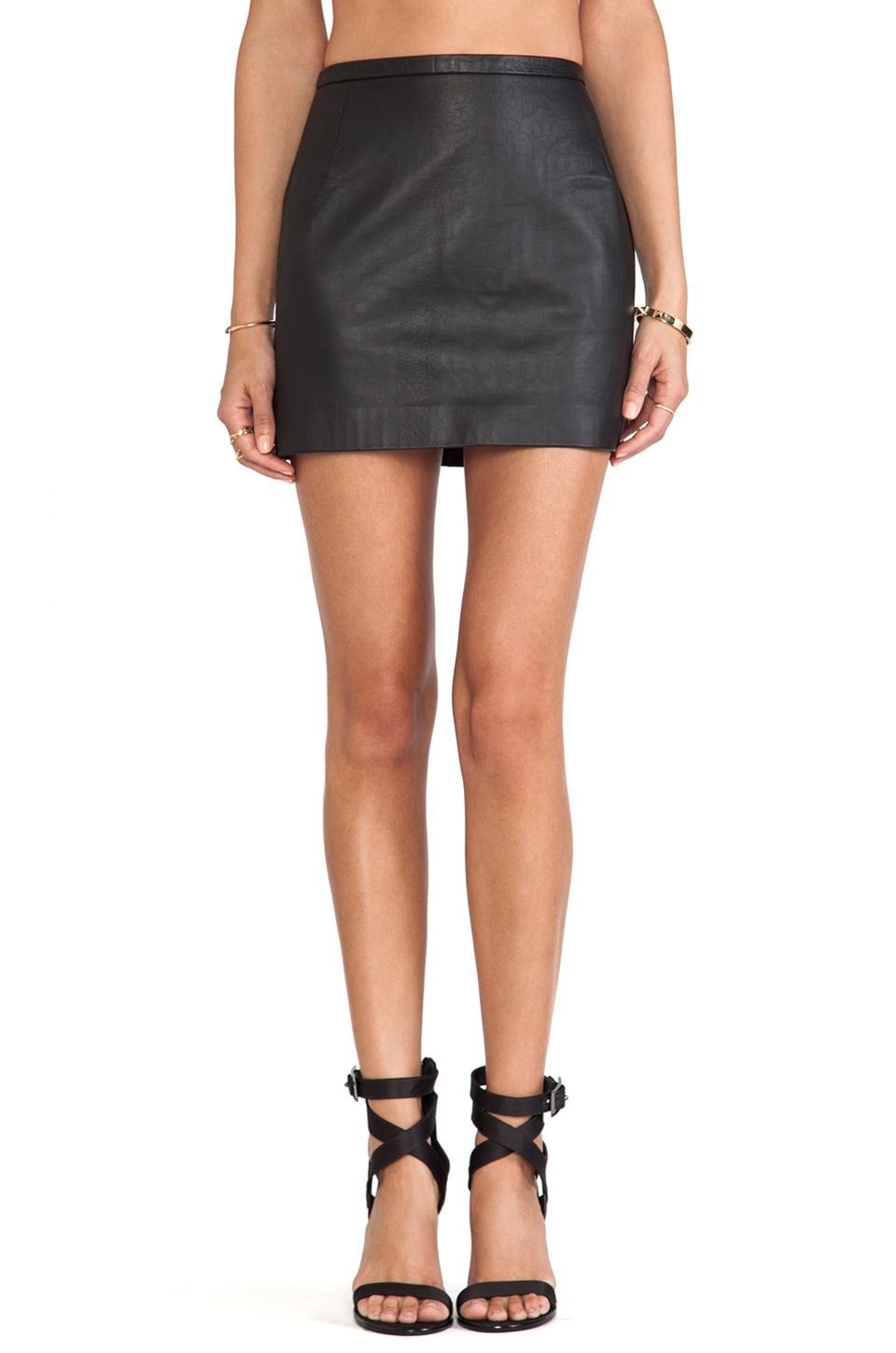 Capulet High Waist Mini Skirt in Black Croc Skin