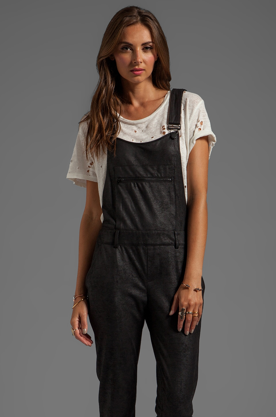 Capulet Suede/Leather Overall in Black