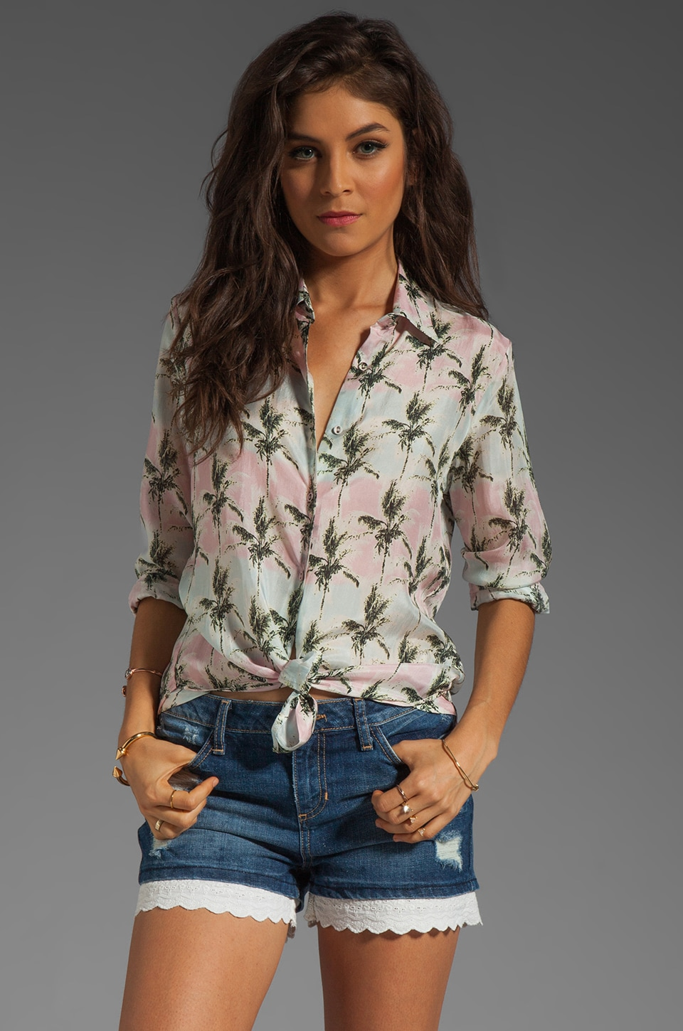 Capulet Long Sleeve Button Down in Pink Palm Tree Print