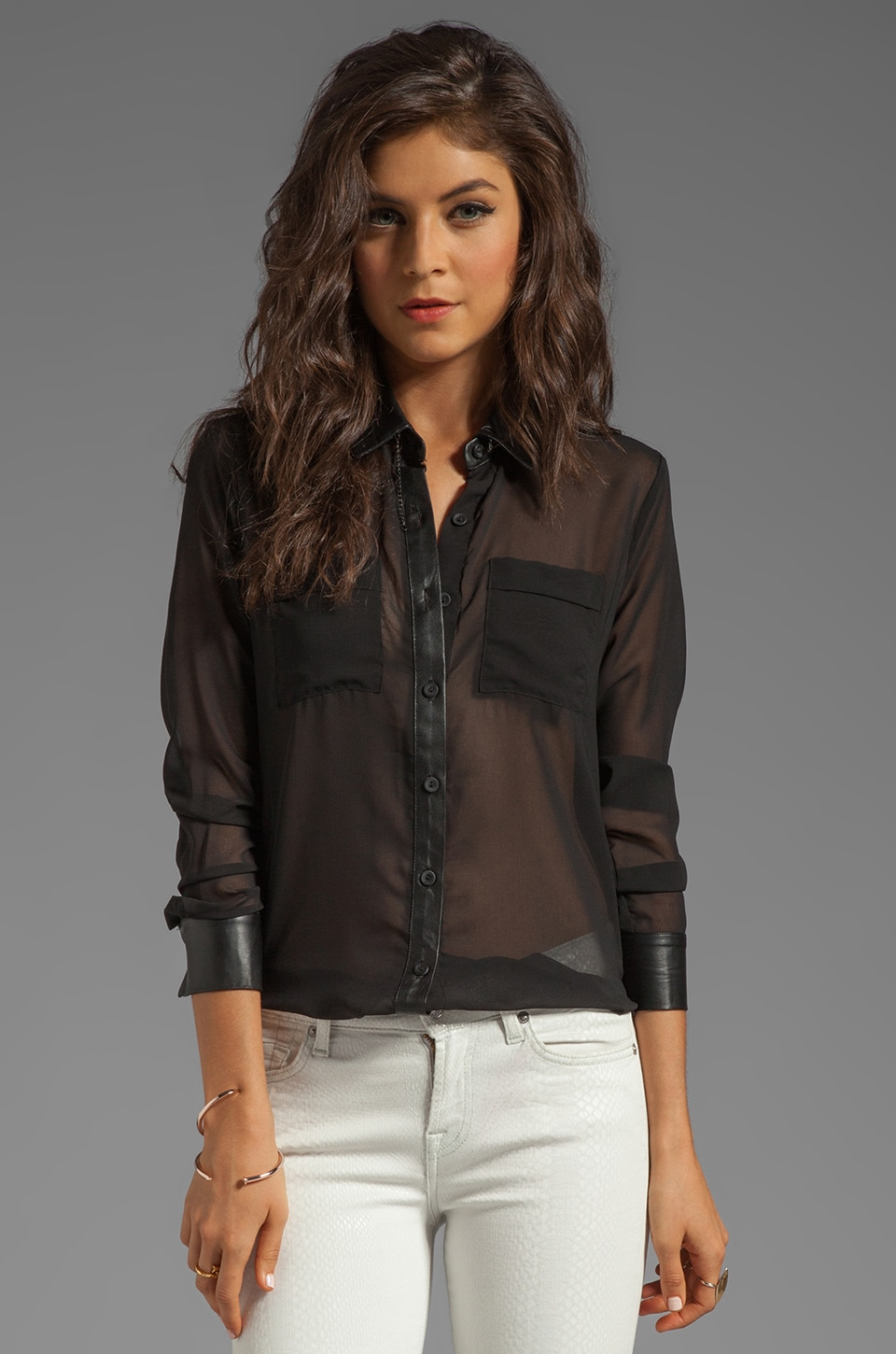 Capulet Leather Contrast Shirt in Black
