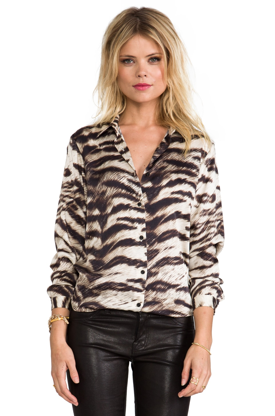 Capulet Button Down Shirt in Light Animal Stripe