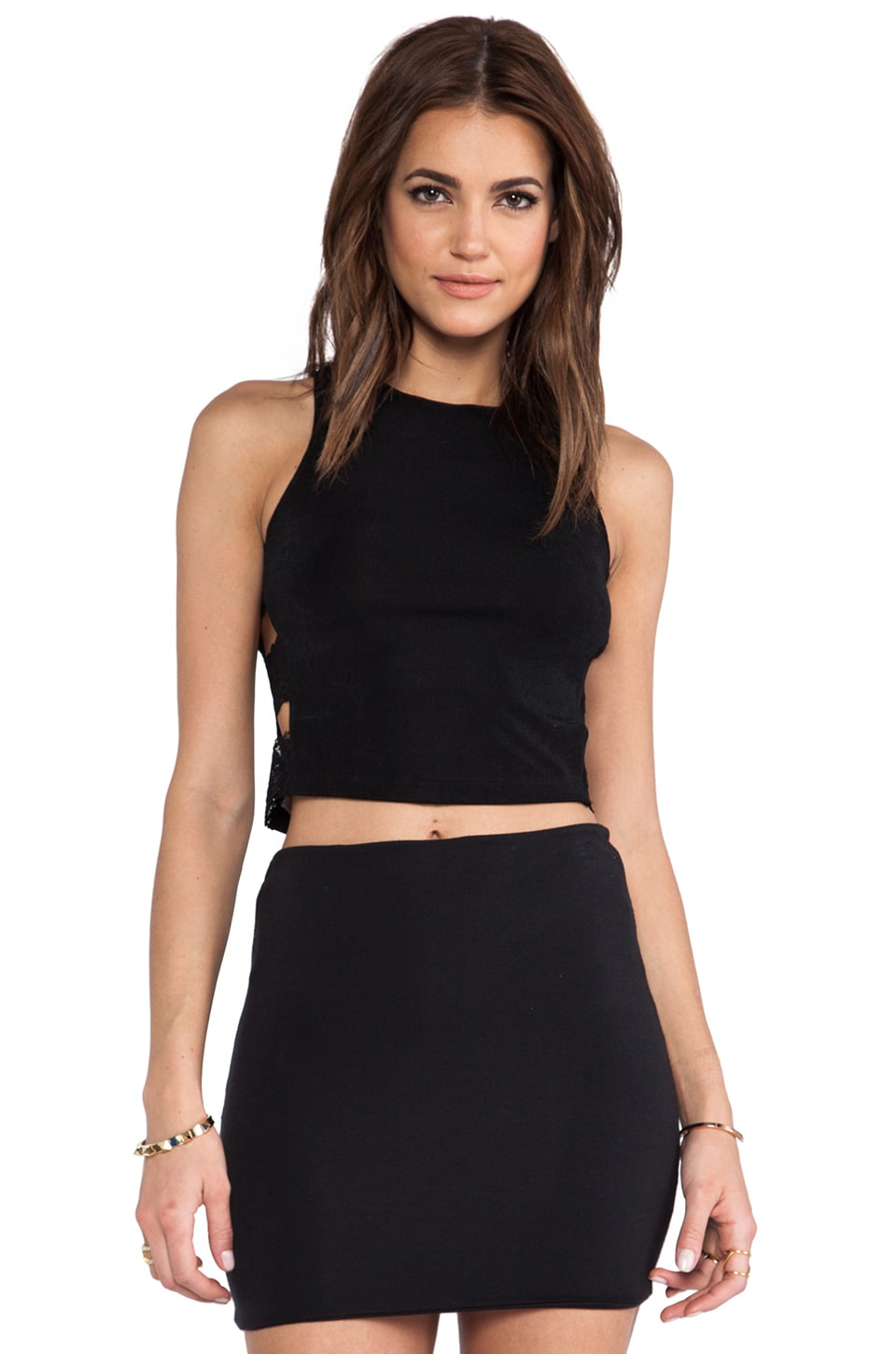 Capulet Halter Crop Top in Black