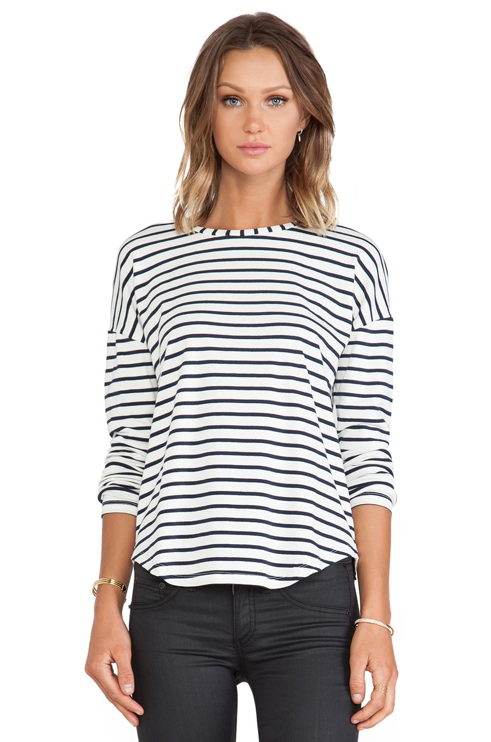 Capulet Long Sleeve Tee in Navy Stripe