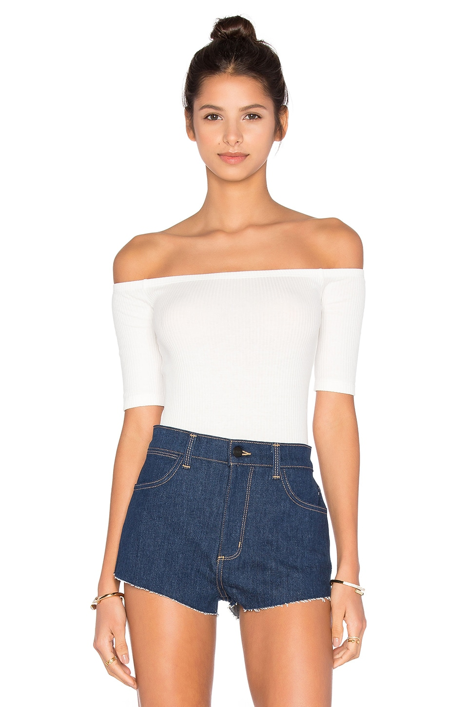 Capulet Short Sleeve Shoulderless Bodysuit in White