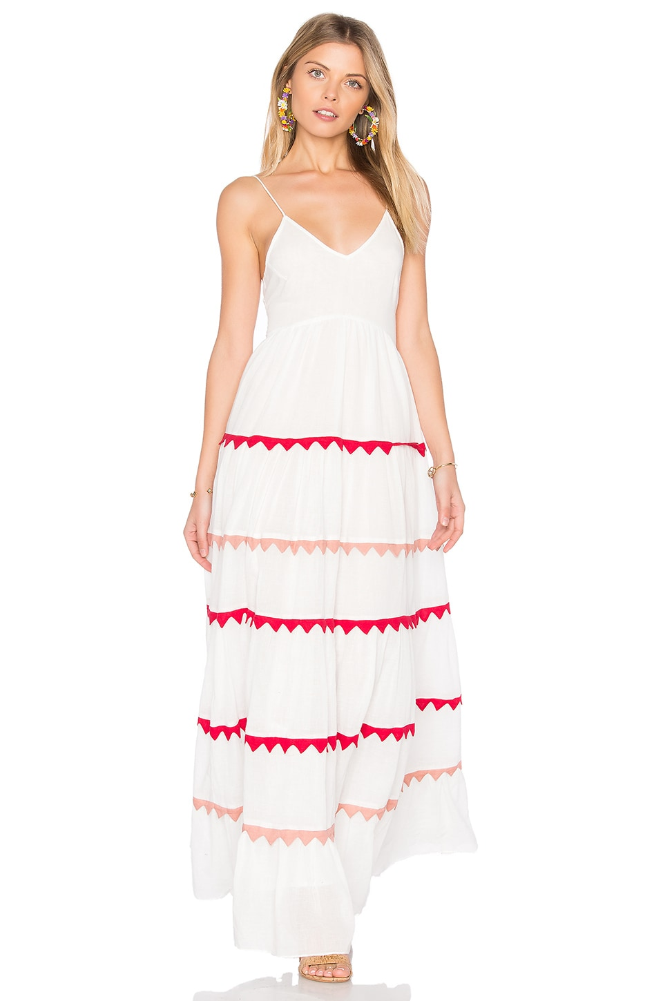 Carolina K Marieta Dress in White & Red