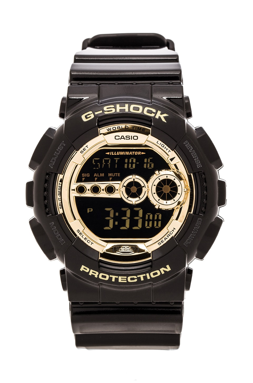 G-Shock GD-100 Black and Gold in Black