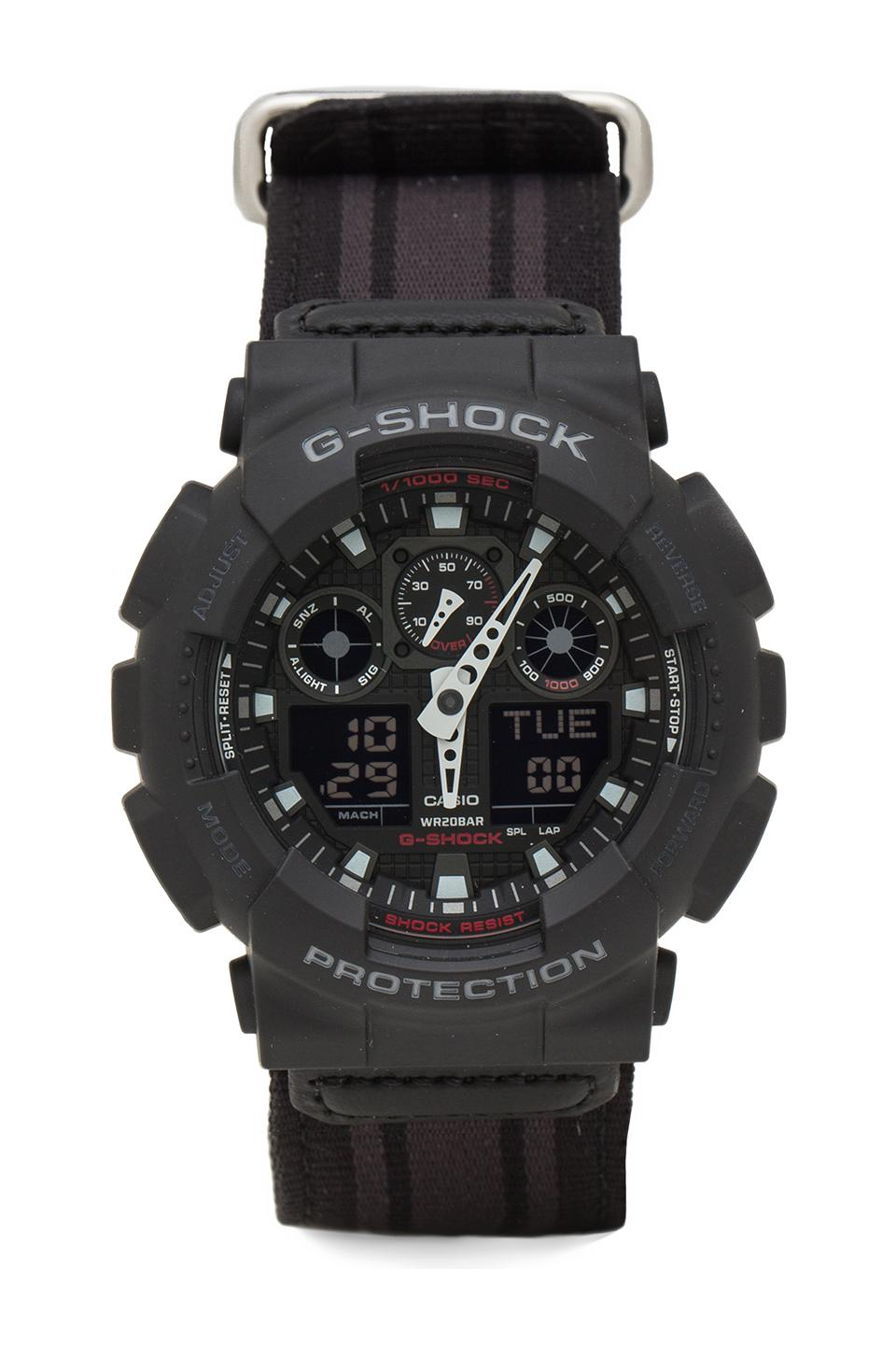 G-Shock GA-100MC Cloth Band Watch in Black