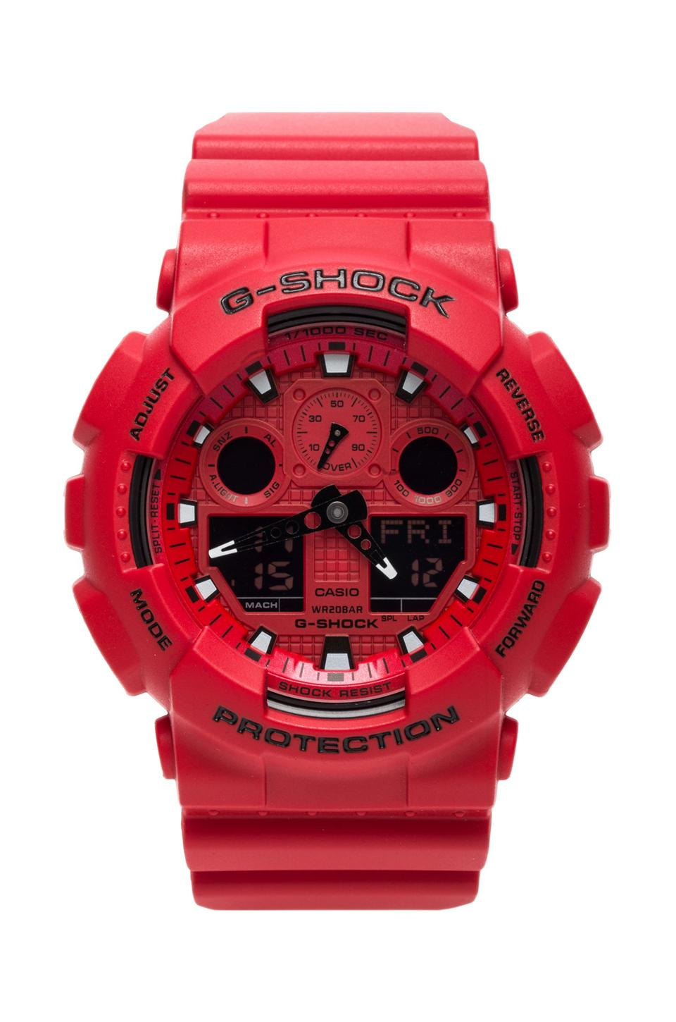G-Shock GA-100 Neon Highlights in Red