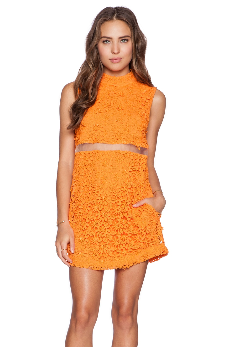 Casper & Pearl Mexico City Dress in Orange Lace