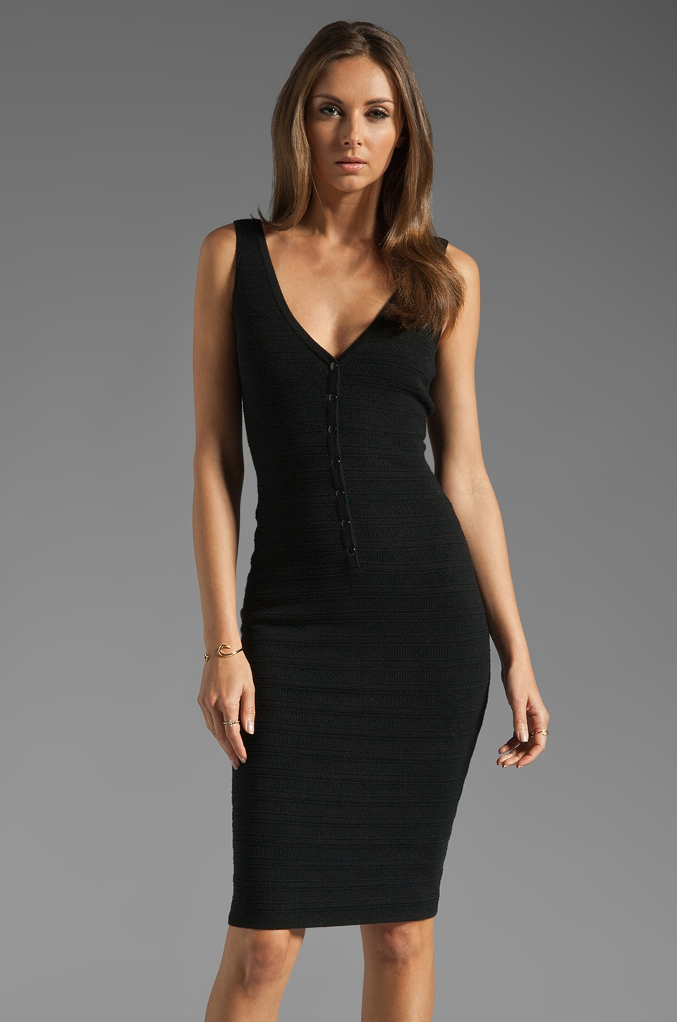 Catherine Malandrino Sleeveless Deep V Neck Dress in Noir
