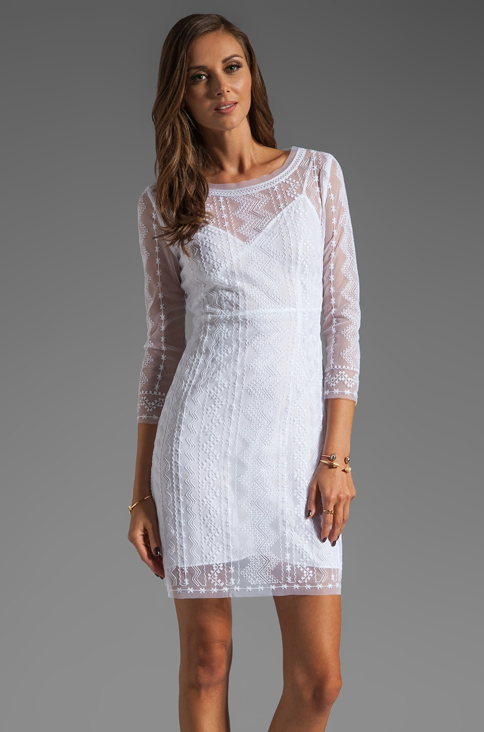 Catherine Malandrino Geometric Tulle Embroidered Dress in Blanc/Blanc