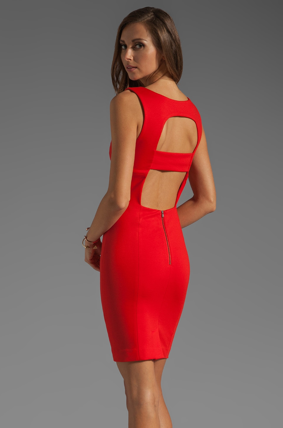 Catherine Malandrino Sleeveless Rectangle Detail Dress in Scarlet