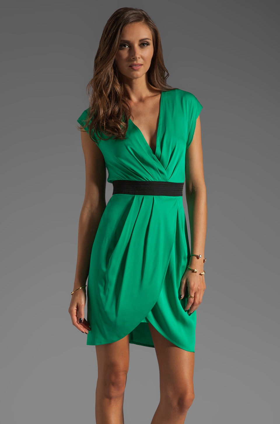 Catherine Malandrino V Neck Wrap Dress in Aloe