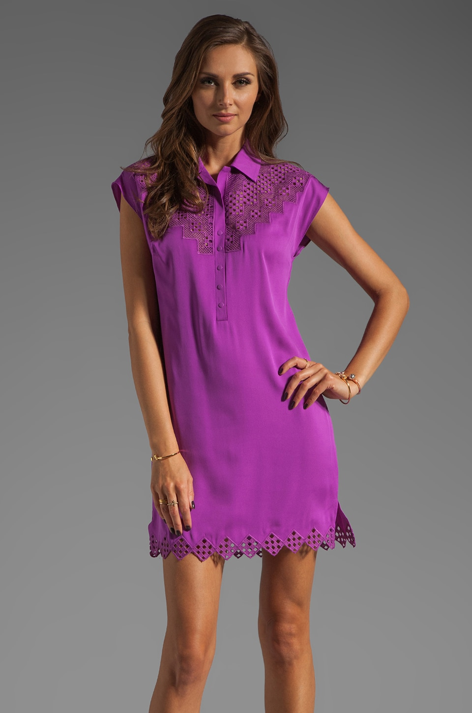 Catherine Malandrino Collared Shirt Dress in Mulberry
