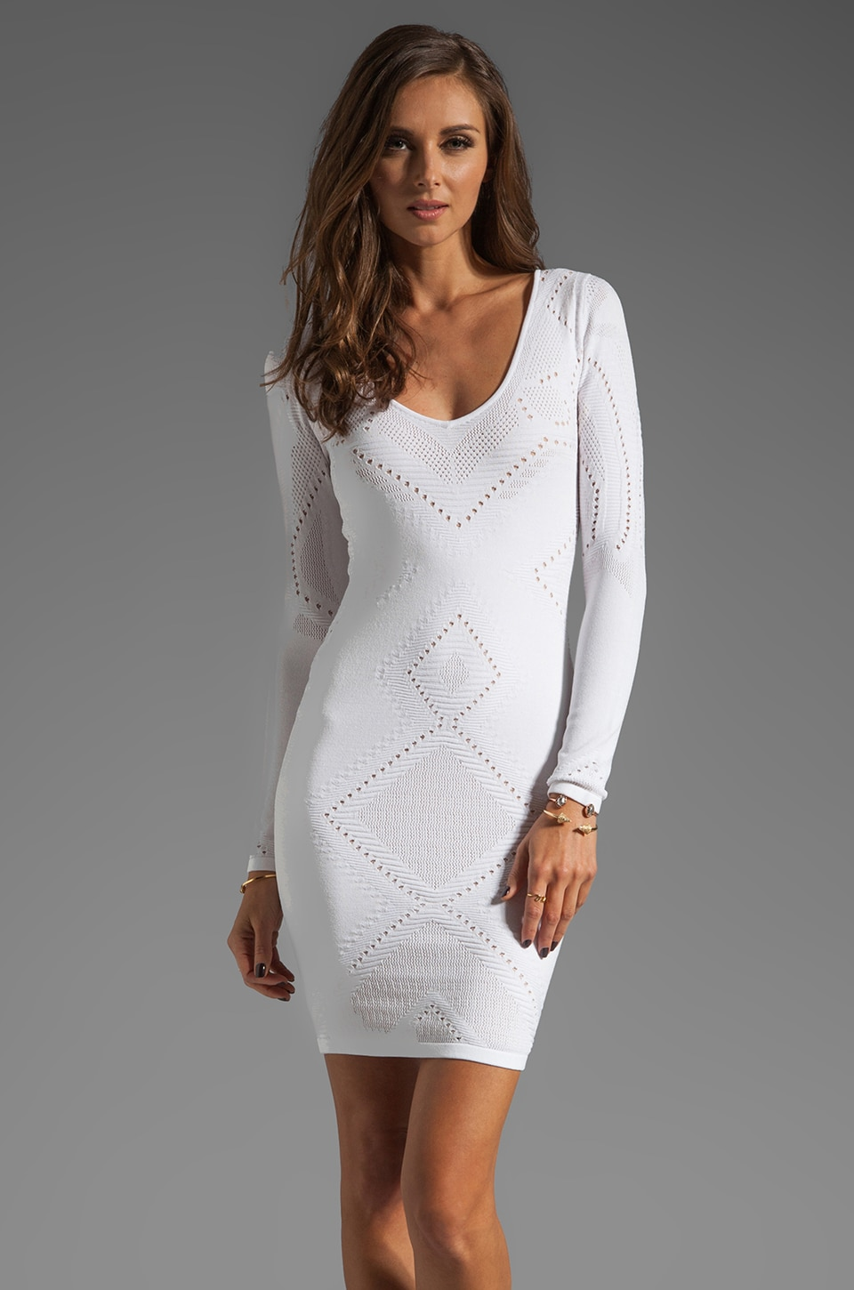 Catherine Malandrino Long Sleeve Boat Neck Dress in Blanc