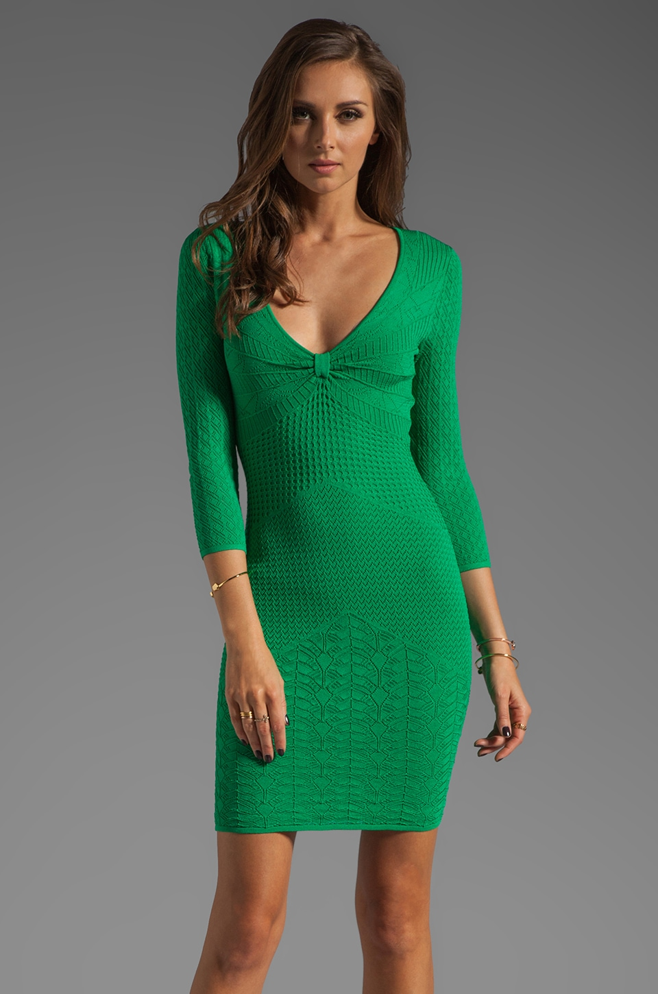 Catherine Malandrino 3/4 Sleeve Deep V Neck Mixed Pointelle Dress in Vert